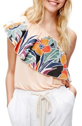 Free People Women's Annka Ruffle One Shoulder Tank Peach