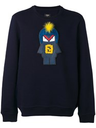 Fendi Embroidered Sweatshirt Men Cotton Wool 48 Blue