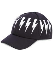 Neil Barrett Lightning Bolt Hat Men Leather Viscose One Size Black