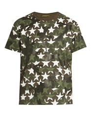 Valentino Camustars Print Cotton Jersey T Shirt Green Multi