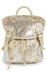 M Z Wallace Mz Wallace 'Lena' Sequin And Nylon Backpack Metallic Gold Dust Sequin