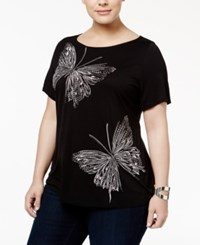 Inc International Concepts Plus Size Embellished Butterfly T Shirt Only At Macy's Deep Black
