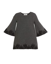 Milly Minis Embroidered Lace Bell Sleeve Dress Gray