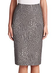 Rickie Freeman For Teri Jon Metallic Leopard Jacquard Pencil Skirt Silver