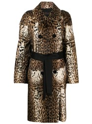 Liska Animal Print Long Coat Neutrals