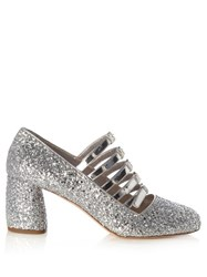 Miu Miu Multi Strap Glitter Mid High Pumps Silver
