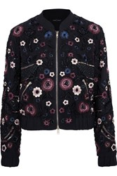 Needle And Thread Embellished Georgette Bomber Jacket Midnight Blue