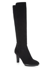 Aquatalia By Marvin K Raine Stretch Suede Knee High Boots Grey Black