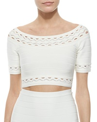 Herve Leger Elsee Scalloped Open Knit Crop Top Alabaster