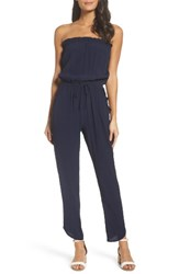 Fraiche By J Women's Strapless Jumpsuit Navy