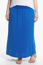 Lily White Foldover Maxi Skirt Juniors Plus Blue