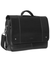 Kenneth Cole Reaction Leather Flapover Laptop Messenger Bag Black