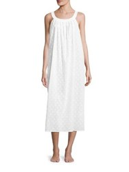 Saks Fifth Avenue Pleated Dot Jacquard Gown White