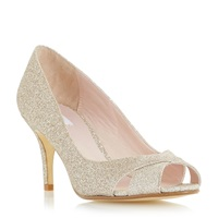 Untold Delamare Cross Over Peep Toe Court Shoes Gold