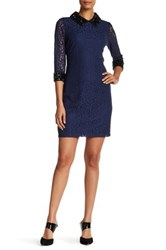 Sangria Rhinestone And Lace Sheath Dress Blue