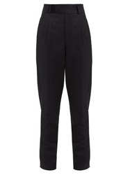 Saint Laurent High Rise Wool Twill Tapered Trousers Black