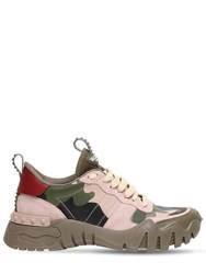 Valentino 30Mm Rockrunner Plus Leather Sneakers Green