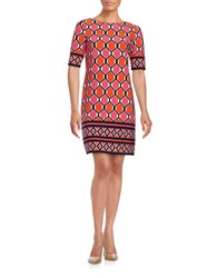 Eliza J Geometric Shift Dress Pink Multi