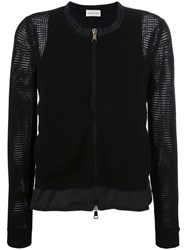 Moncler Mesh Knit Zipped Cardigan Black
