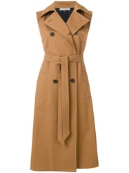 Mantu Sleeveless Belted Trench Brown