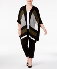 Alfani Plus Size Colorblocked Poncho Cape Created For Macy's Moss Bold Geo