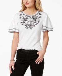 Charter Club Gingham Detail Embroidered Top Created For Macy's Bright White