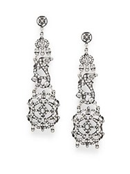 Azaara Vintage By Monaco Swarovski Crystal Silverplated Silver And Copper Chandelier Drop Earrings