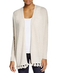 Moon And Meadow Pom Pom Trim Cashmere Cardigan Oatmeal Heather