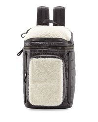 Moncler Quilted Nylon Backpack W Shearling Trim Black Ivory Black Ivory