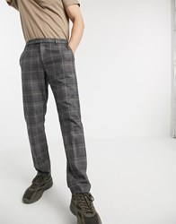 River Island Slim Fit Smart Pants In Gray Check