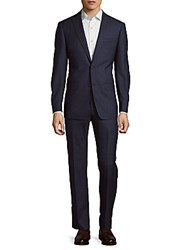 Michael Kors Windowpane Check Wool Suit Blue