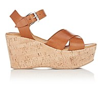 Barneys New York Women's Ankle Strap Platform Wedge Sandals Brown