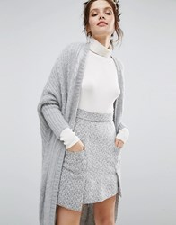 Willow And Paige Maxi Cable Knit Cardigan Grey