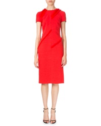 Altuzarra Diagonal Fringe Short Sleeve Dress Poppy Red
