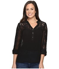 Rock And Roll Cowgirl Long Sleeve Top B4b8374 Black Women's Clothing