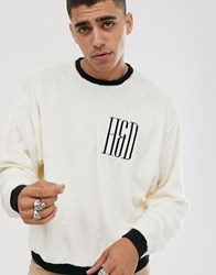 Heart And Dagger Teddy Sweatshirt In White With Logo