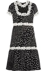 Giambattista Valli Lace Trimmed Polka Dot Silk Georgette Dress