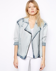 Mango Acid Wash Denim Biker Jacket Bleach