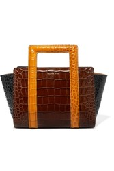 Rejina Pyo Madison Color Block Croc Effect Leather Tote Brown Gbp