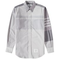 Thom Browne Oversized Plaid Oxford Shirt Grey
