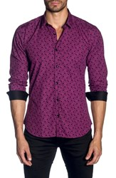 Jared Lang Trim Fit Sport Shirt Black Fuchsia Print