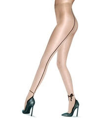 Pretty Polly Ambassador Range Bow Tights With Back Seams Nude Black
