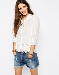 Only Rosa Lace Detail Shirt Cream