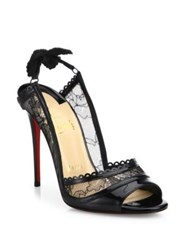 Christian Louboutin Hot Spring Patent Leather And Lace Peep Toe Pumps Black