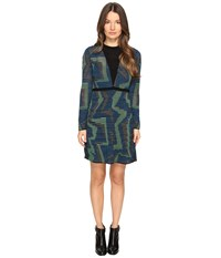 M Missoni Geo Knit Long Sleeve Dress Blue