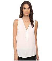 The Kooples Tank Top With A Zip Neckline In Silk And Jersey White Women's Sleeveless