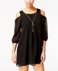 As U Wish Juniors' Cold Shoulder Shift Dress With Necklace Black