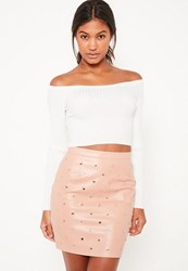 Missguided Nude Faux Leather Gold Studded Mini Skirt