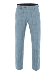 Gibson Men's Blue Check Tailored Trousers Blue