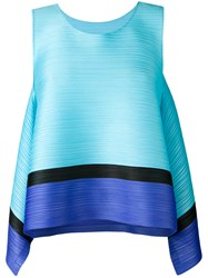Issey Miyake Pleats Please By Sleeveless Pleated Top Women Polyester 3 Blue